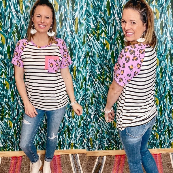 VB Striped Top with Leopard Sleeves and Pocket