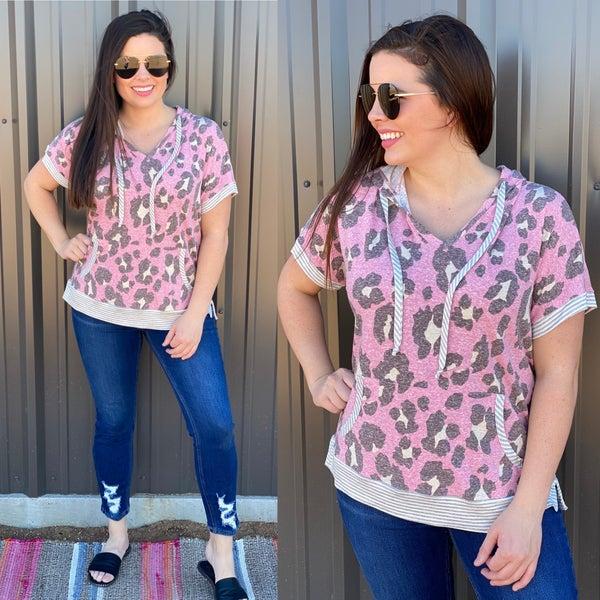 Honey Me Pink Animal Print Weekender Top with Hood *Final Sale*