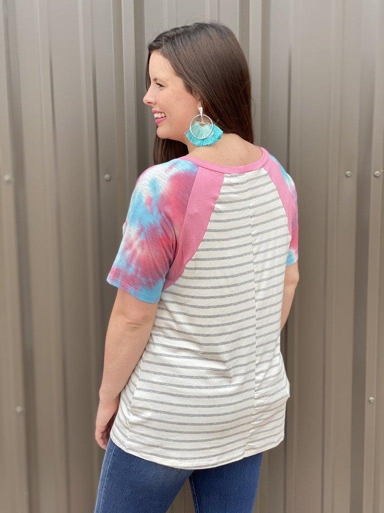 Haptics Striped Top with Tie Dye Color Block Raglan Sleeves