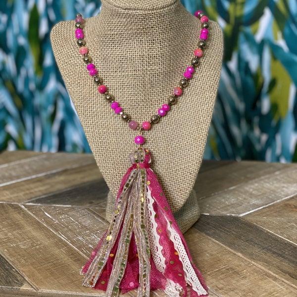 Gold & Fuchsia Tassel Necklace