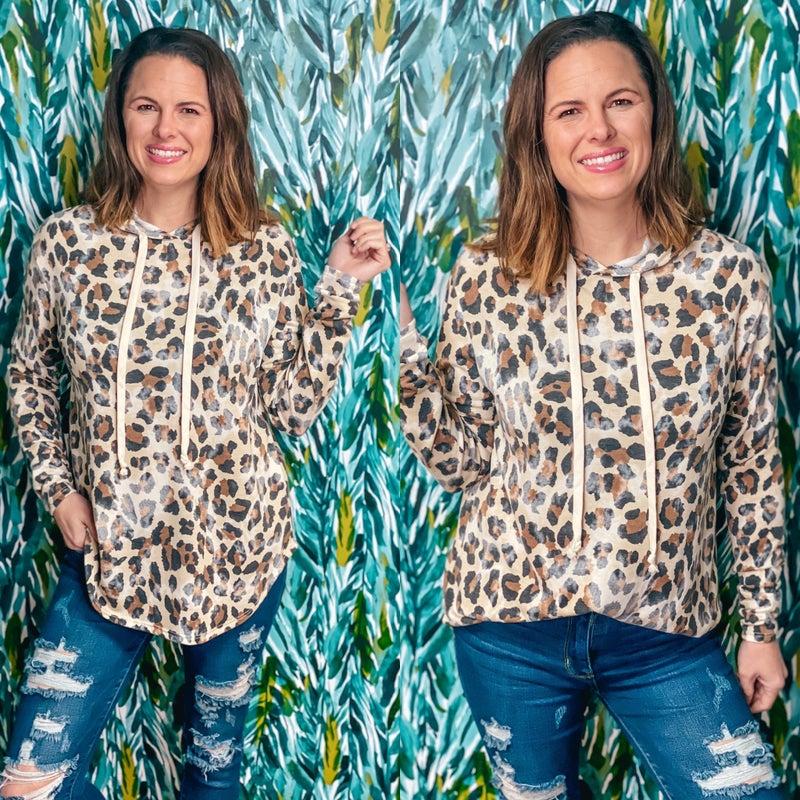 Reg/Plus Honey Me Leopard Hoodie with Thumbholes *Final Sale*