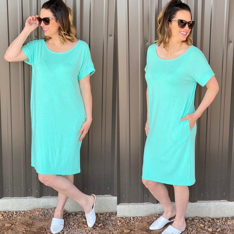 Reg/Plus Zenana Mint Rolled Short Sleeve Dress with Pockets