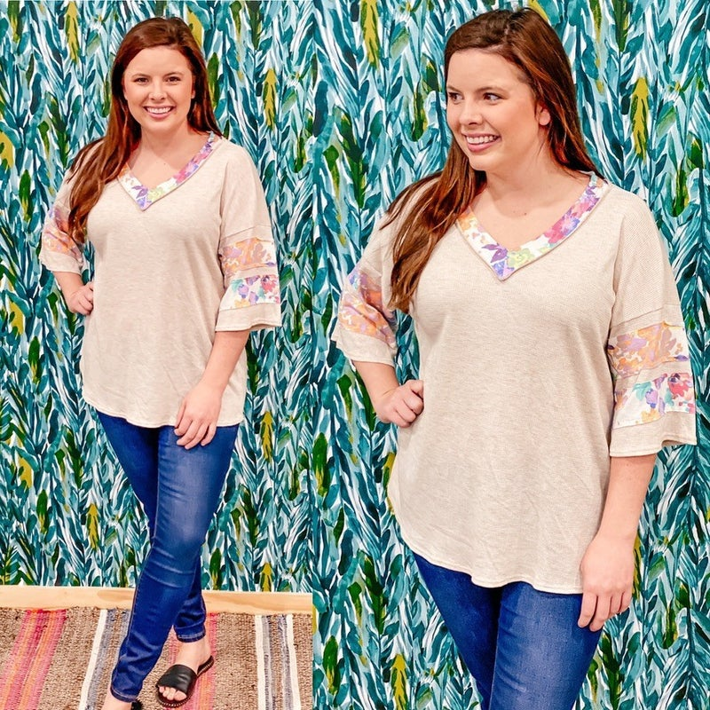 Reg/Plus SOL Taupe V-Neck Top with Floral Trim