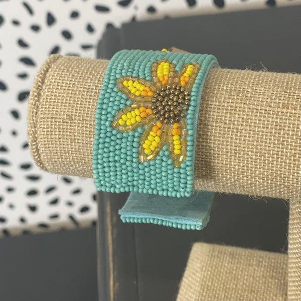 Adjustable Seed Bead Bracelet Sunflower & Turquoise