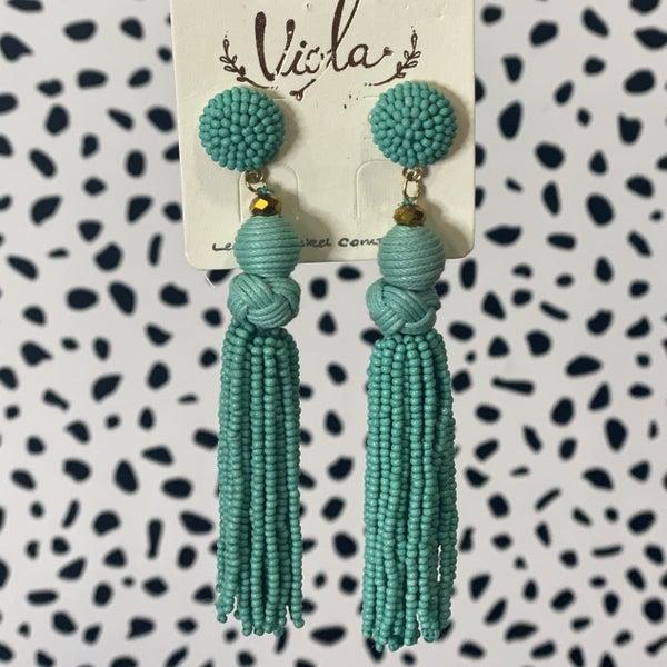 Seed Bead Tassel Earrings Turquoise