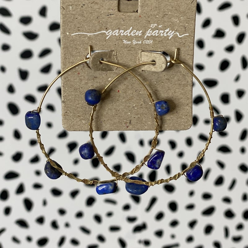 Marble Stone Entwined Hoops - Navy
