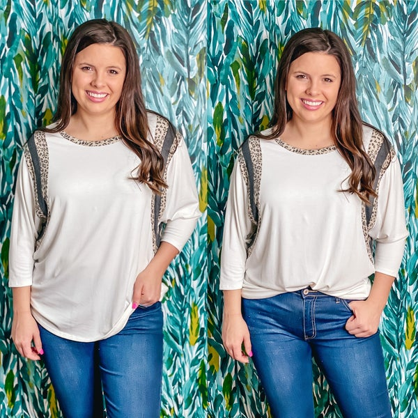 VB Ivory Top with Leopard Color Block 3/4 Sleeves