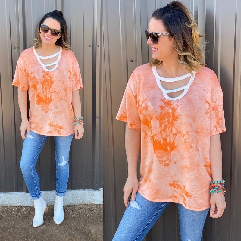 Fantastic Fawn Orange Tie Dye Double Cut-Out Neck Top *Final Sale*