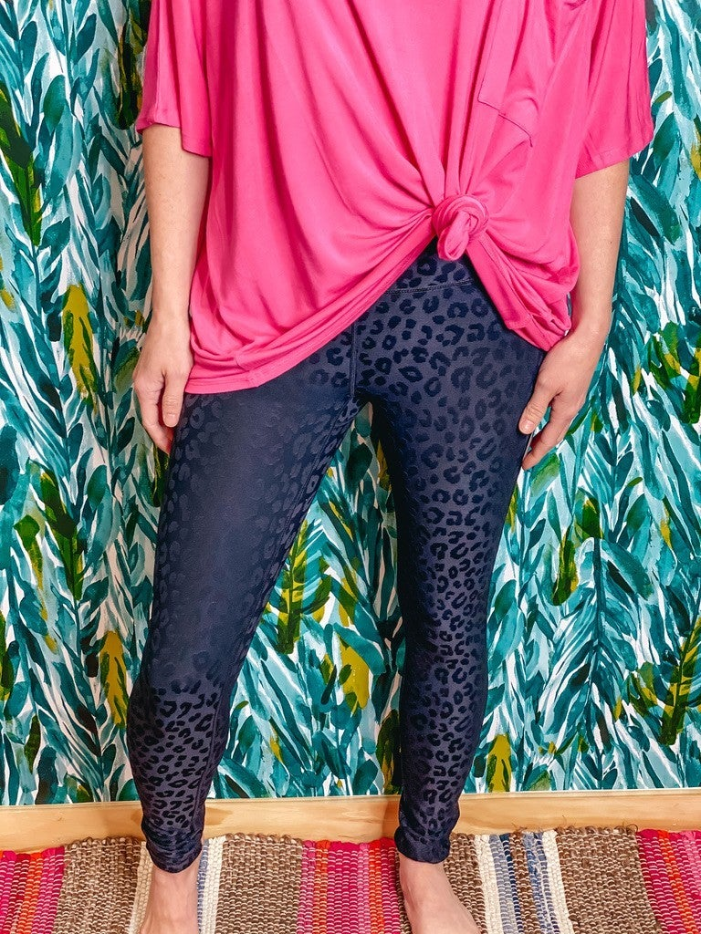 Mono B Black Textured Leopard Leggings *Final Sale*