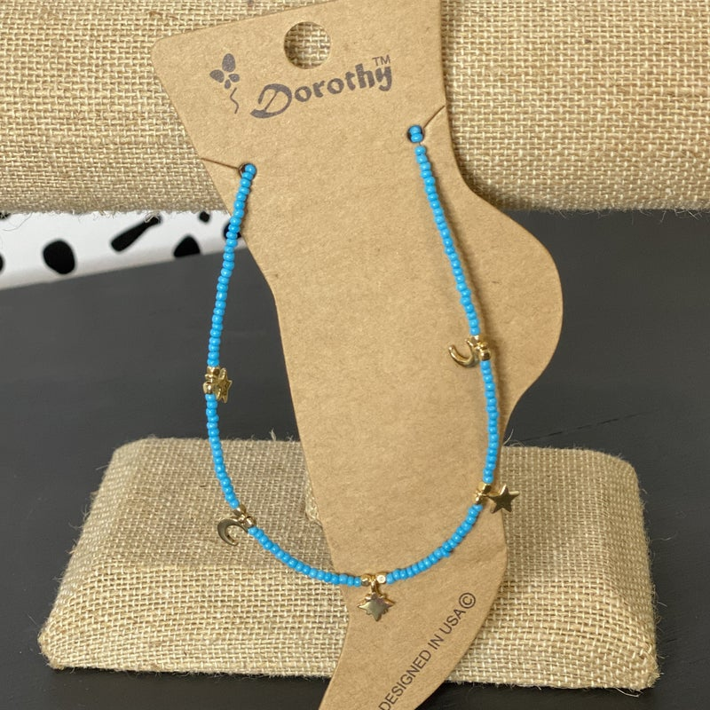 Blue Star & Moon Anklet