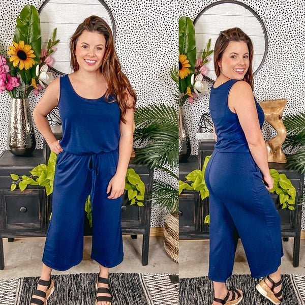 Reg/Plus Zenana Navy Sleeveless Jumpsuit with Pockets