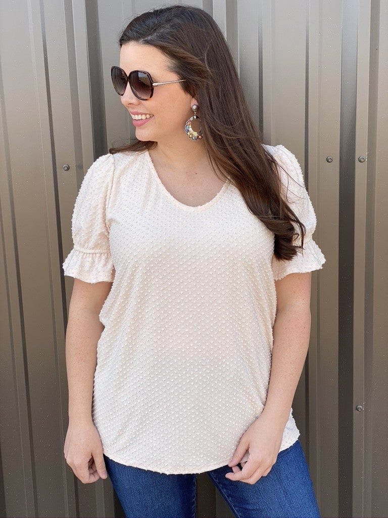 RJ Taupe Dotted Swiss V-Neck Top *Final Sale*