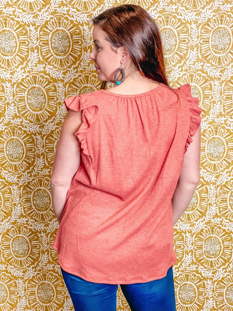 lovely J Brick Ruffled Yoke Top *Final Sale*