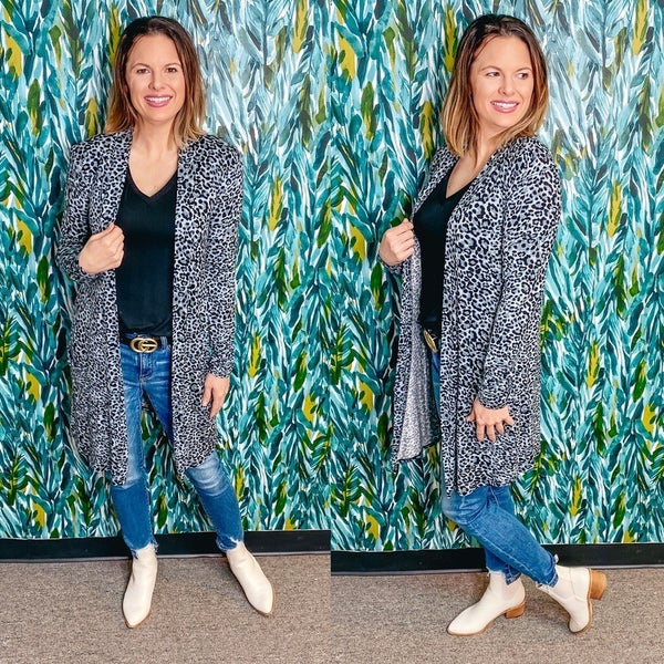 Reg/Plus Zenana Gray Leopard Slouchy Cardigan with Pockets