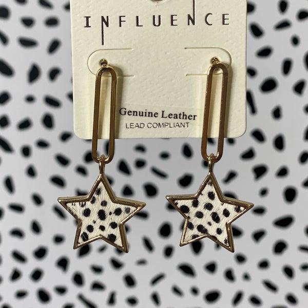Speckled Hide Star Drop Earrings
