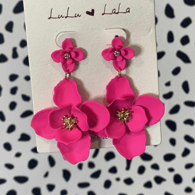 Double Flower Drop Earring Neon Pink