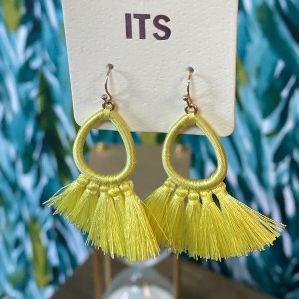 Yellow Pear Tassel Earrings