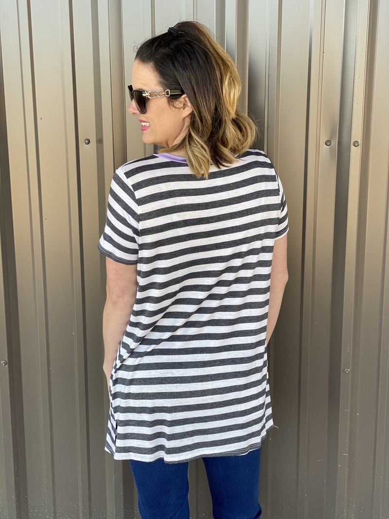 Honey Me Charcoal/Ivory Striped Top with Lavender Trim *Final Sale*