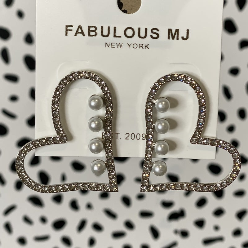Crystal Studded Pearl Hearts - Silver