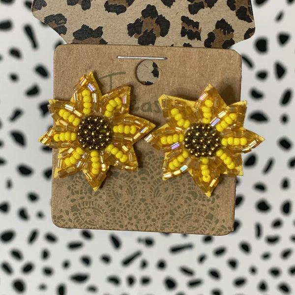 Small Beaded Sunflower Earrings