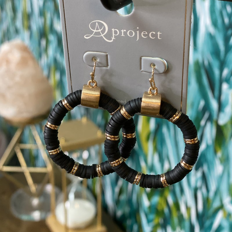 Black Stacked Round Earring *Final Sale*