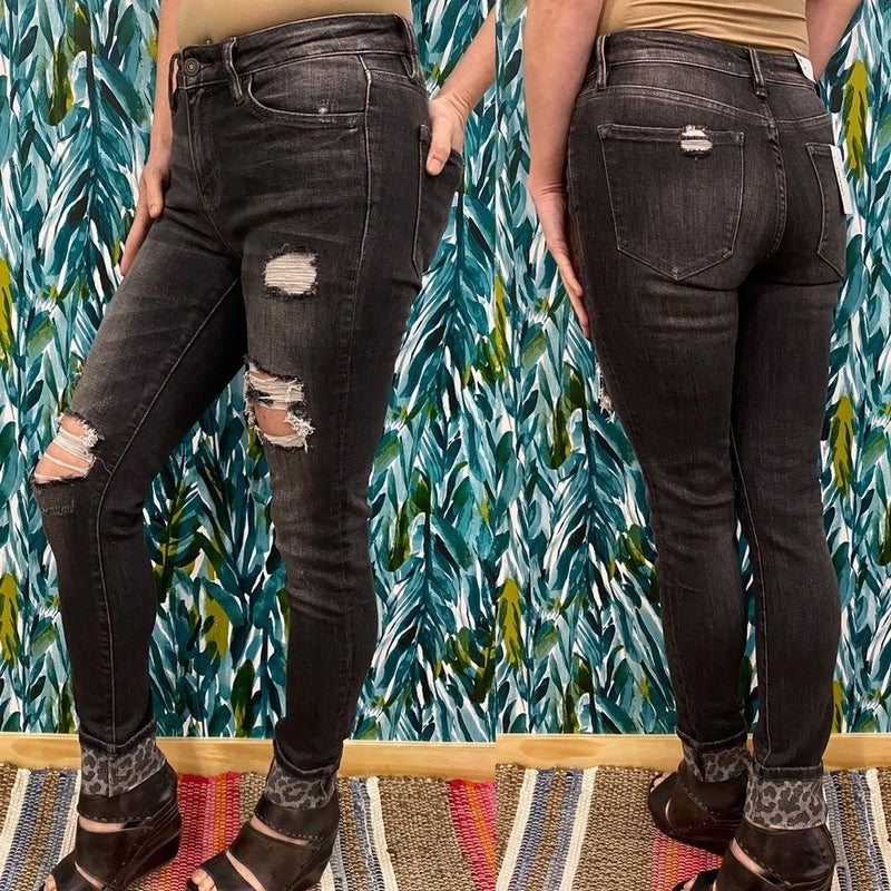"""Vervet Amber """"Naya"""" Washed Black Distressed Jeans with Leopard Cuff"""