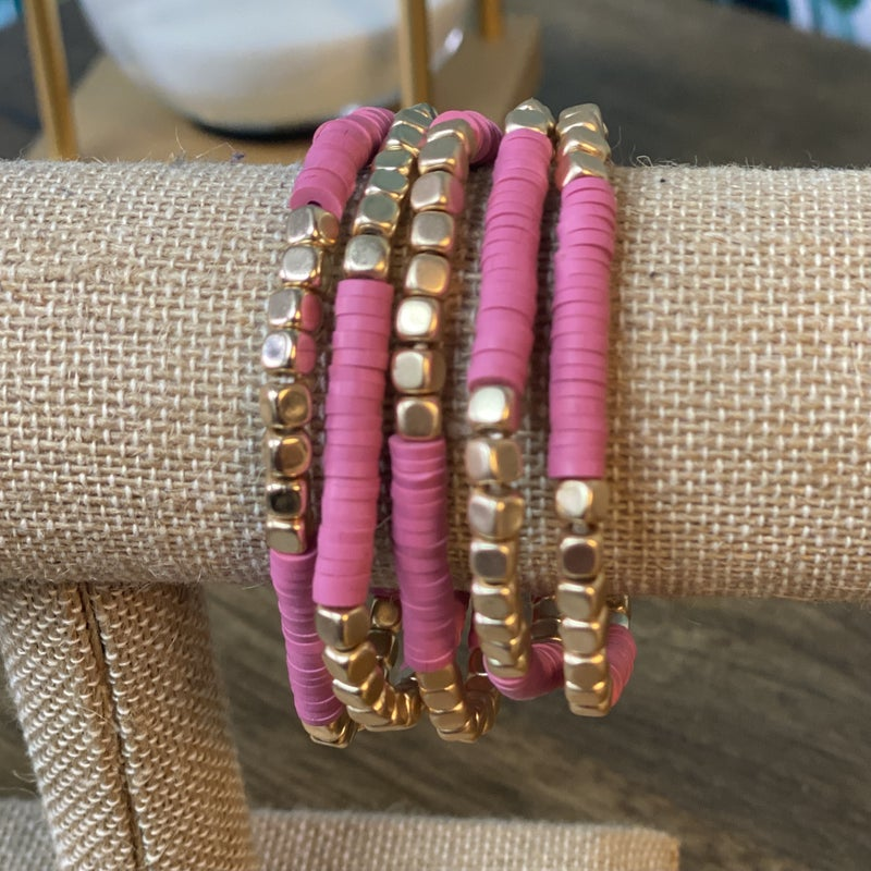 Fuchsia and Gold Stacked Bracelet Set *Final Sale*