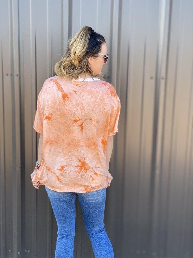 Fantastic Fawn Orange Tie Dye Double Cut-Out Neck Top *Final Sale*