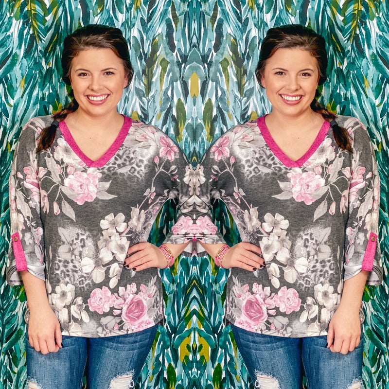 Honey Me Gray/Pink Floral V-Neck Top