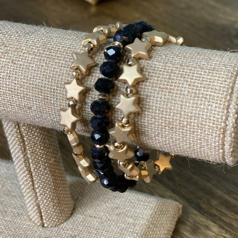Gold/Black Star Bracelet Set
