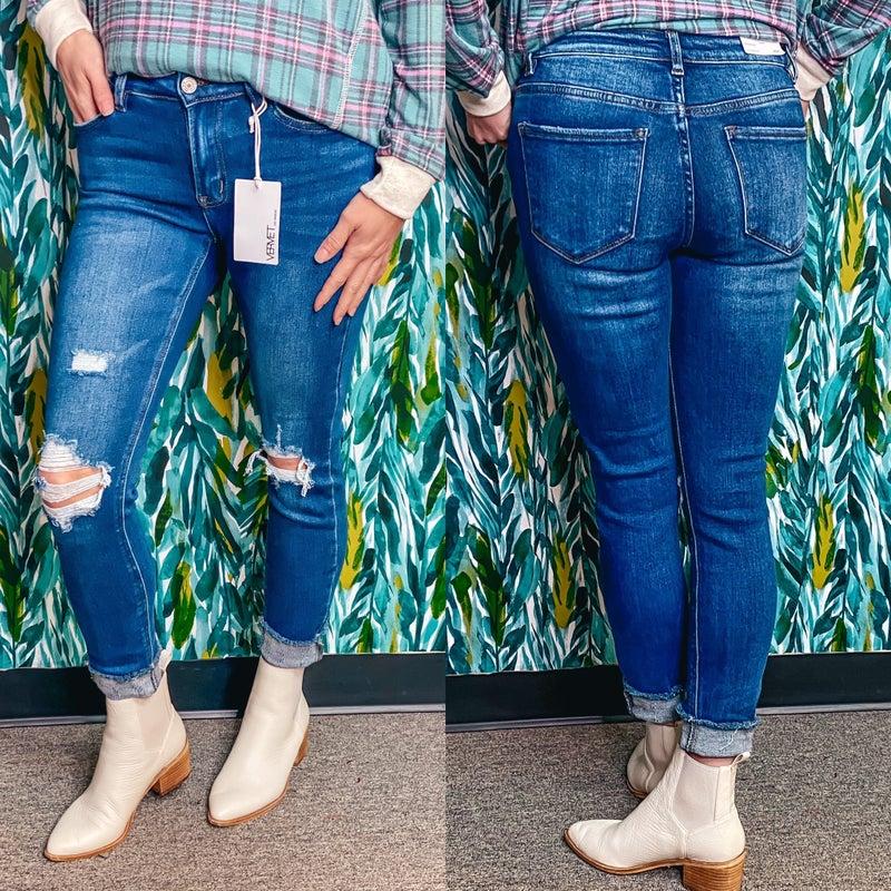 """Vervet 1217 Amber """"ER"""" Mid Rise Distressed Frayed Hem Jeans"""