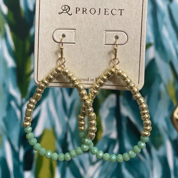 Gold & Mint Stacked Teardrop Earrings