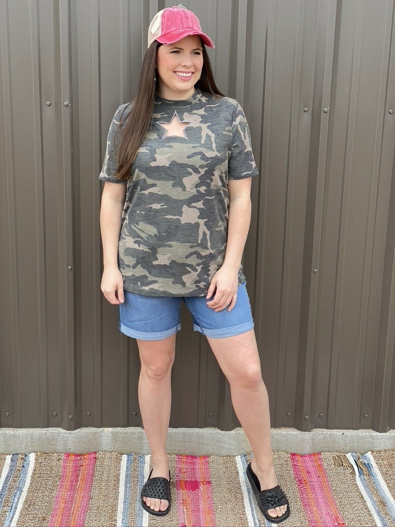 BiBi Camo Top with Star Cut-Out