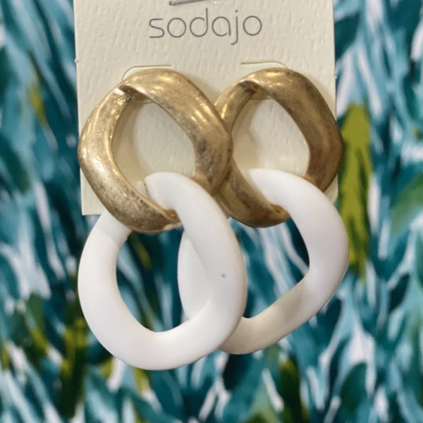 Gold and White Clay Linked Earrings