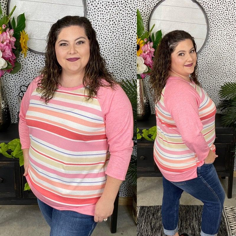Reg/Plus Honey Me Pink Striped 3/4 Sleeve Weekender