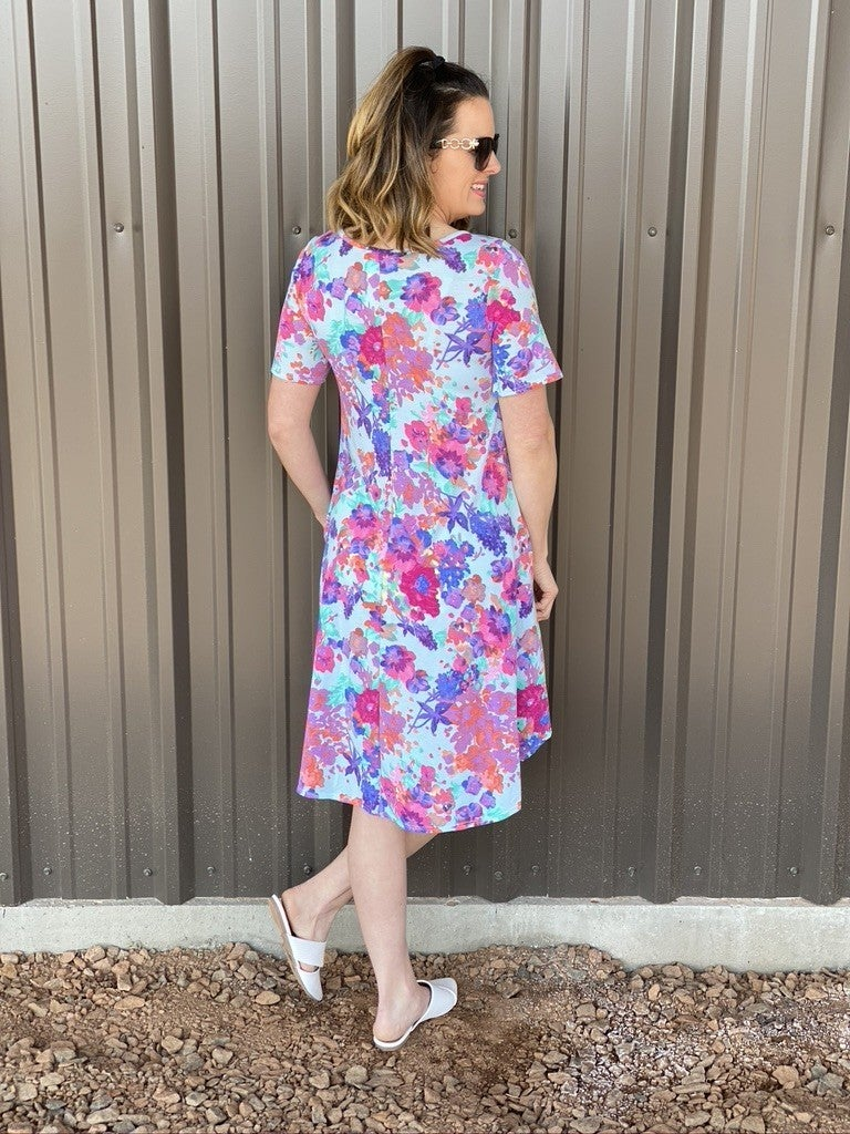 Reg/Plus SOL Mint Floral Dress