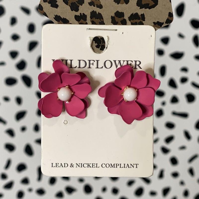 Fuchsia Lotus Pearl Earrings