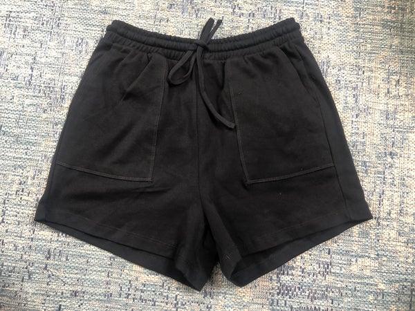 Zenana Black Drawstring Waist Shorts with Pockets