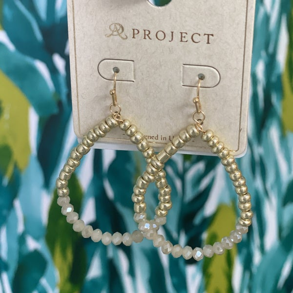 Gold & Natural Crystal Stacked Teardrop Earring