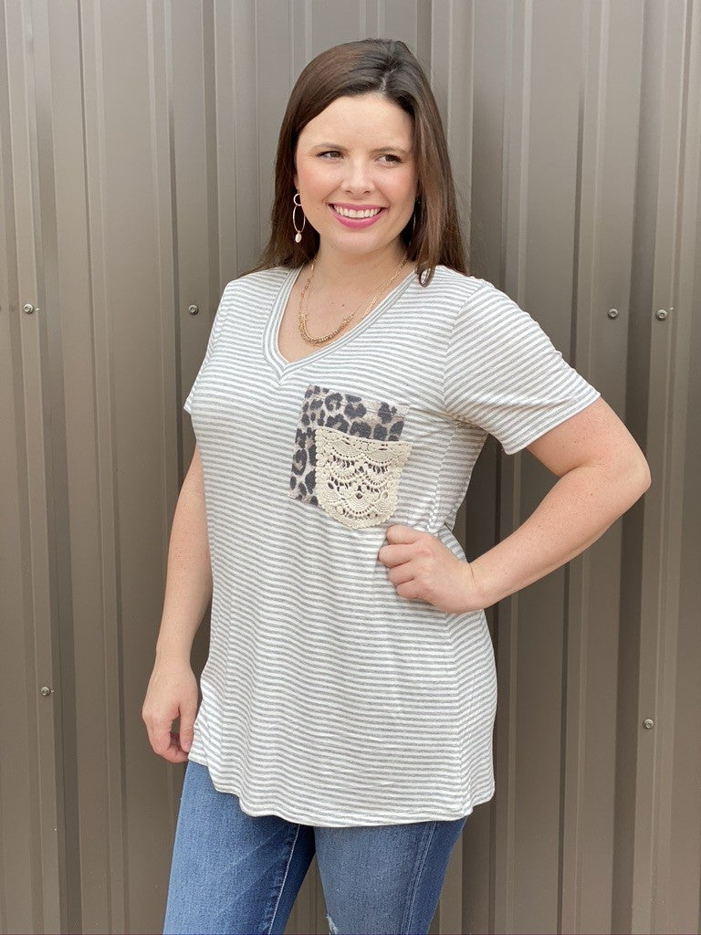 Reg/Plus Heimish Gray/ivory Striped V-Neck Top with Leopard/Lace Double Pocket