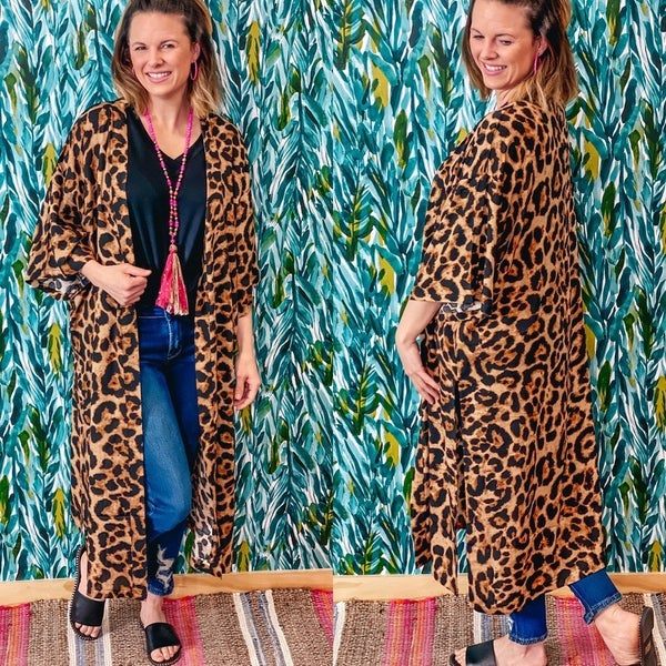 S&R One Size Leopard Side Slit Duster