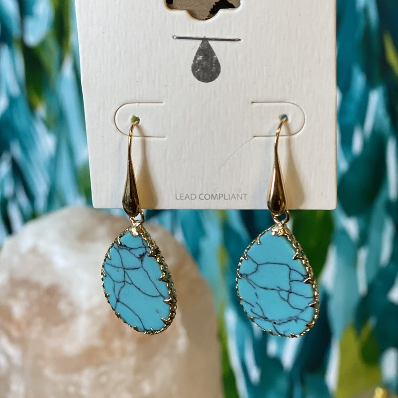 Turquoise Marble Pear Drop Earing *Final Sale*