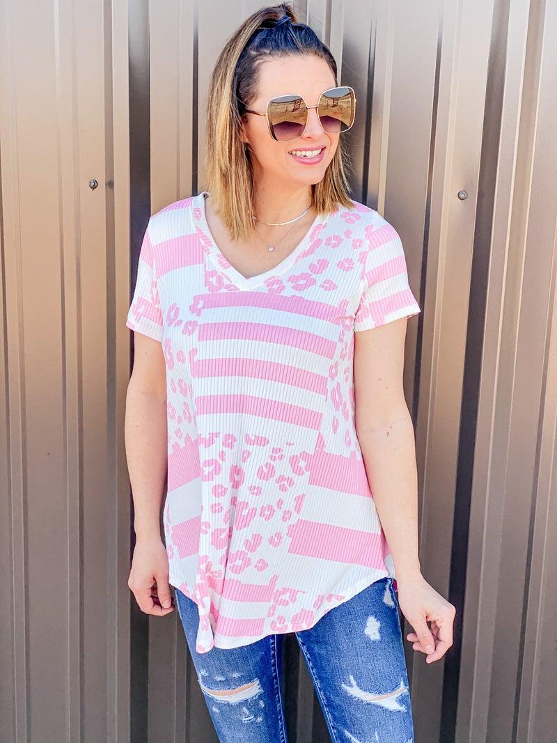 Reg/Plus Honey Me Pink/Ivory Striped/Leopard V-Neck Top *Final Sale*