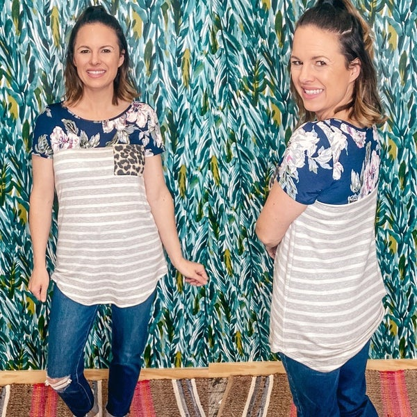 LJ Gray Striped Top with Navy Floral Top