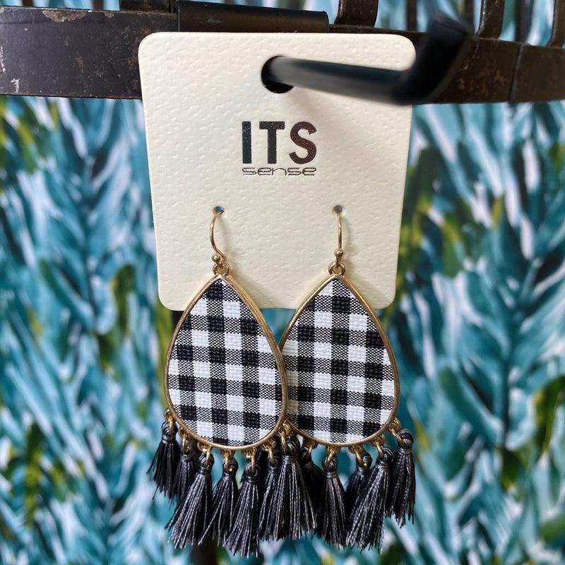 Black Buffalo Plaid Fringe Earrings