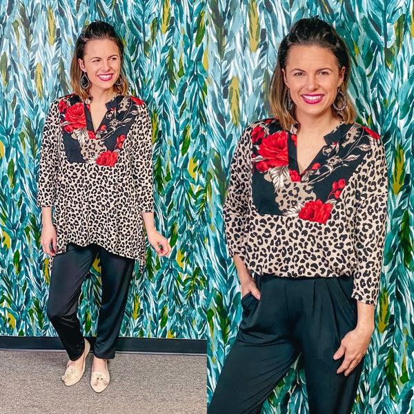 Reg/Plus Honey Me Leopard Top with Floral Yoke