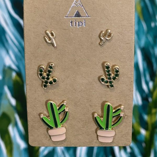 Gold Cactus Earring Set