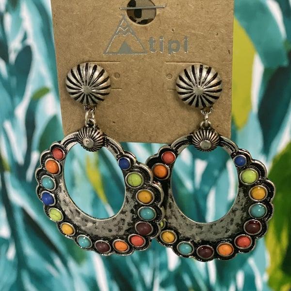 Western Inspired Colorful Embossed Earrings