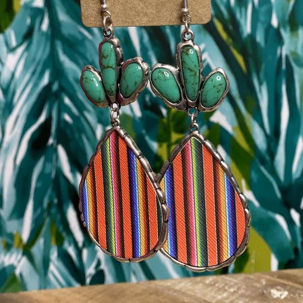 Western Striped Teardrop Earrings