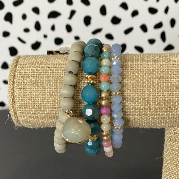 Jade Stone & Crystal Bead Bracelet Set